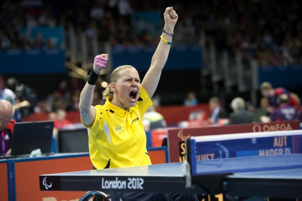 Ana-Carin Ahlquist of Sweden pictured here celebrating her Paralympic class 3 gold medal at London 2012 is another big favourite for more success this week