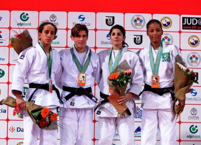 Belgian veteran Ilse Heylen (second from left) secured her first ever World Judo Tour title with victory at the Almaty Sports Palace