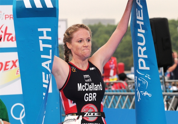 Britian's Faye McClelland celebrates her fourth Paratriathlon world title win in Hyde Park