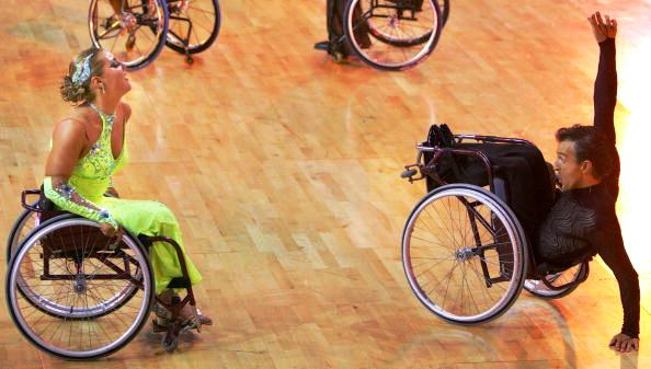 Competitors performing in the duo dance style category in wheelchair dance sport