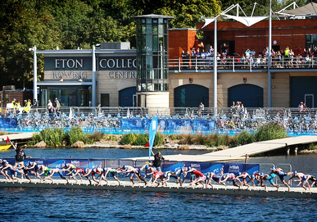 Competitors take to the water during the junior triathlon European Cup in Eton Dorney