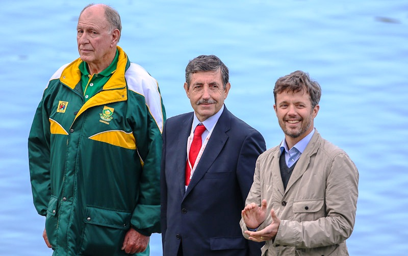 Crown Prince Frederick of Denmark (right) attends the opening day of the ICF Canoe Marathon World Championships in Copenhagen