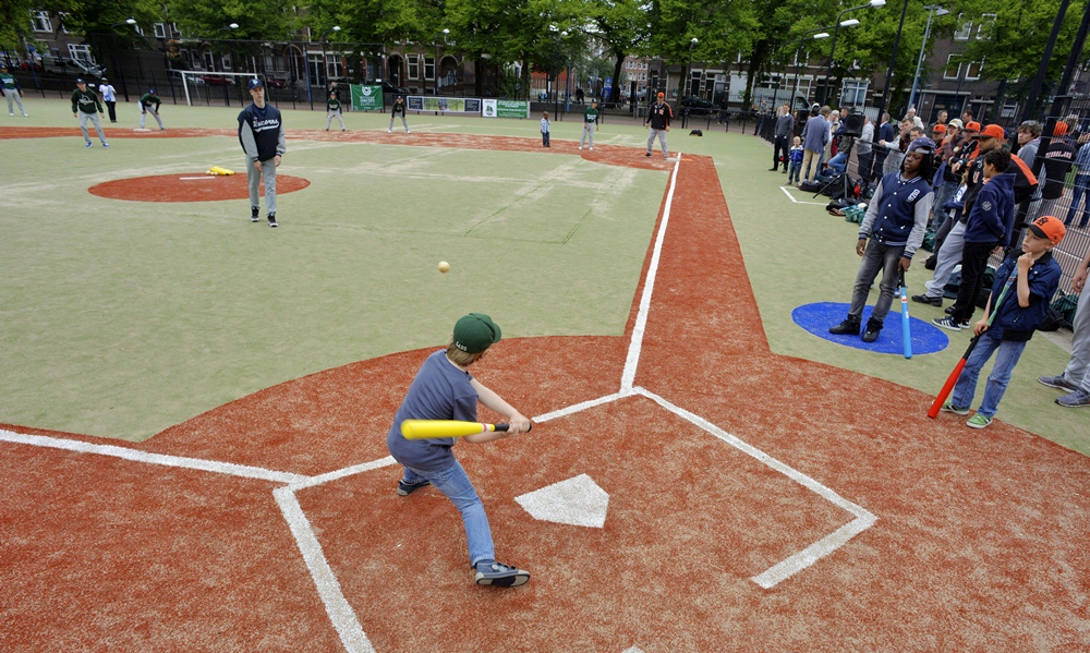 The world's first street baseball-softball diamond is now up and running in Rotterdam