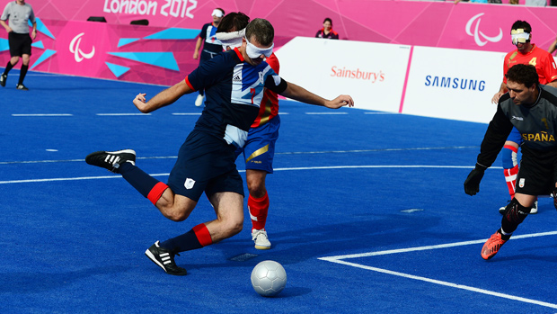 Dave Clarke about to score against Spain in the opening match of the 2012 Summer Paralympics in London