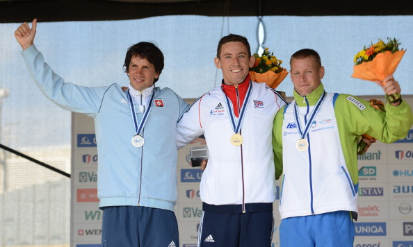 David Florence on the podium after winning the C1 world championship title in Prague