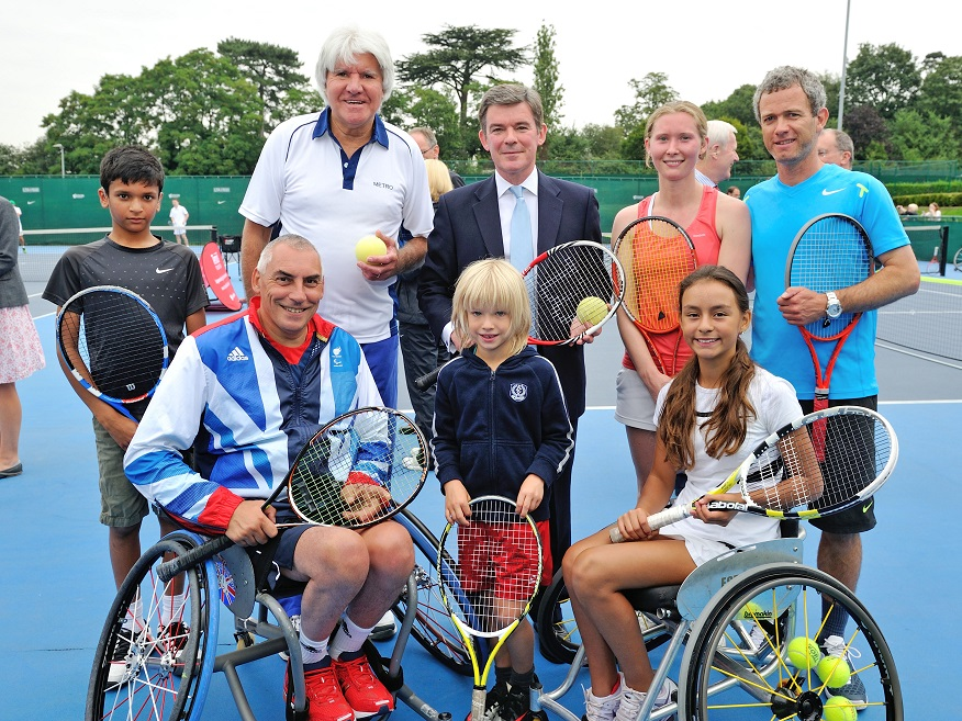 Sports Minister Hugh Robertson (centre) attended the Disability Tennis Festival, hosted by the Tennis Foundation at the National Tennis Centre in London