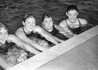 Faith Leech far right won freestyle team gold at the Melbourne 1956 Olympic Games