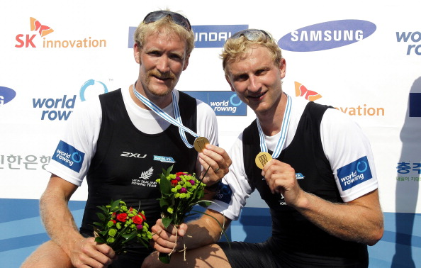 Hamish Bond and Eric Murray pose after winning the mens pair at the World Rowing Championships