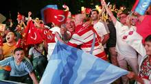 There were premature celebrations from some of the Turkish contingent after the first round of voting