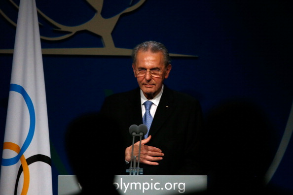 Jacques Rogge delivering his departing speech as IOC President
