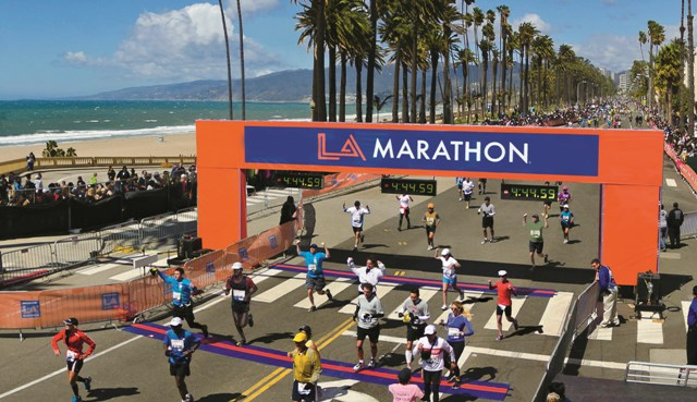 A field of 24,000 takes part in the annual Los Angeles Marathon