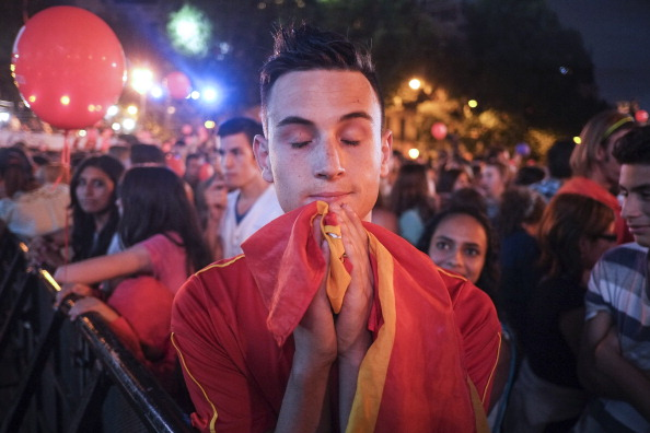 A disappointed spectator in the centre of Madrid reacts to the news that the Spanish capital had been knocked out in the first round of voting to host the 2020 Olympics and Paralympics