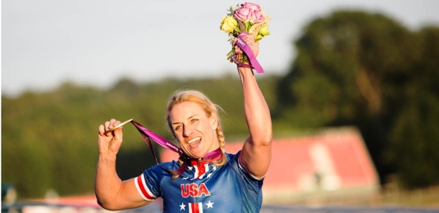 Marianna Davis of the USA celebrates her second gold medal of the 2013 UCI World Para-Cycling Championships