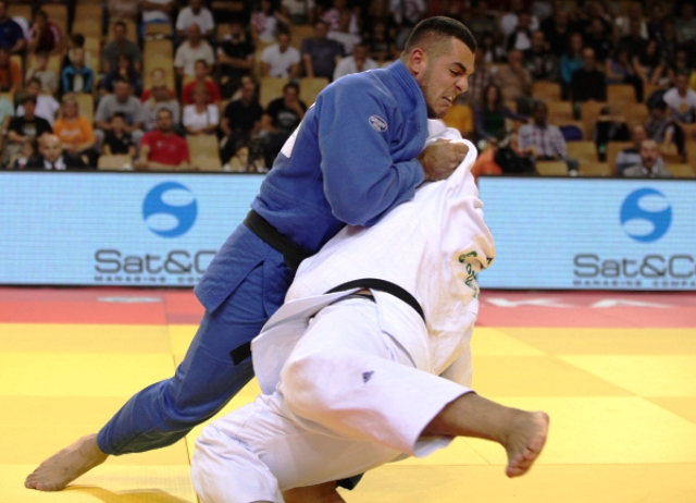 Marko Radulovic of Montenegro (blue) won the 100kg class and picked up the male judoka of the tournament award