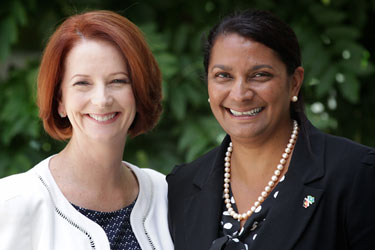 Nova Peris (right, with Julia Gillard) has become the first Indigenous woman in Federal Parliament
