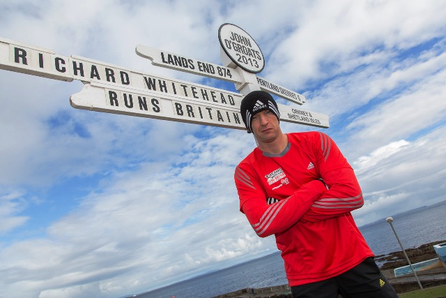 Paralympic champion Whitehead began his 40 marthons in 40 days trek in John O'Groats on August 13
