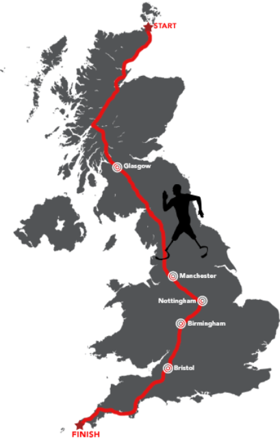 Richard Whitehead's route from the north of Scotland to the southern tip of England