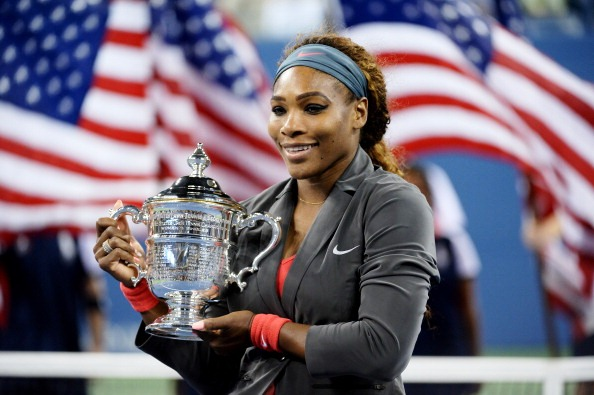 Serena Williams celebrates her fifth US Open womens singles title in New York
