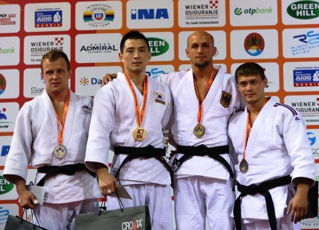 South Korean Bang Gui Man (second from left) proved too good for European champion Rok Draksic of Slovenia (far left)