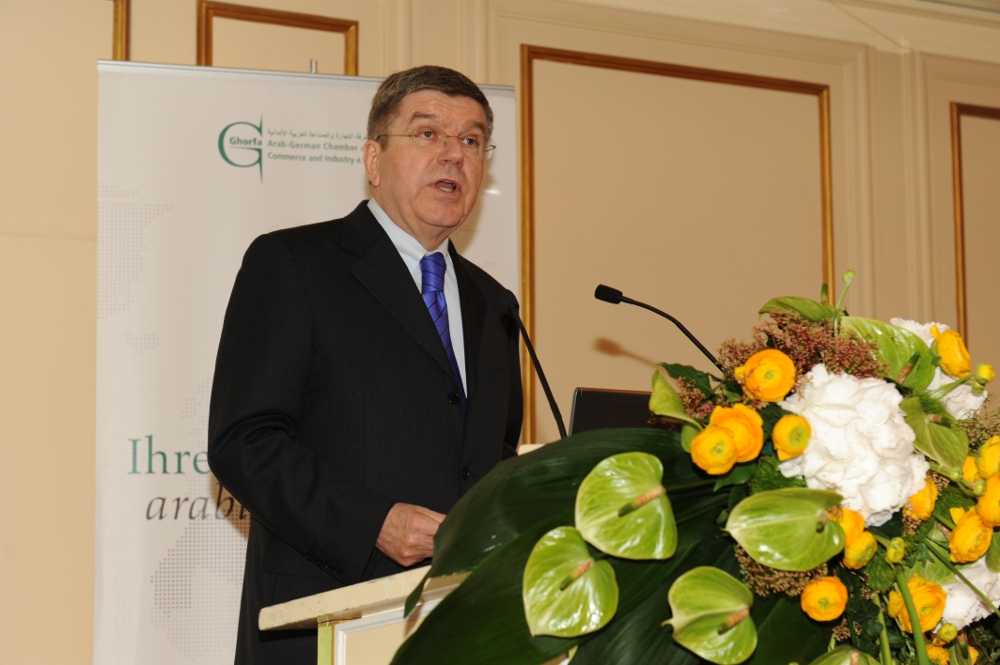 Thomas Bach at a meeting of Ghorfa, the Arab-German Chamber of Commerce and Industry he now plans to resign from