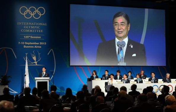 Tokyo 2020 chief executive Masato Mizuno speaks during the bid presentation