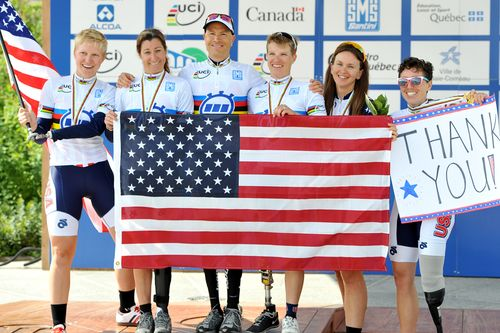 American cyclists celebrate their success at the UCI Para-cycling World Championships