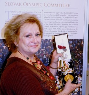 Věra Čáslavská has donated two of her seven Olympic gold medals to the Slovak Museum of Physical Culture