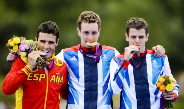 Will the triathlon podium from London 2012 be repeated on Sunday and in which order?