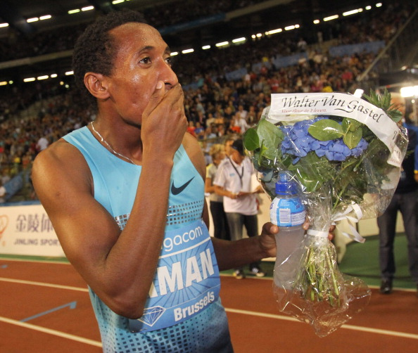 Ethiopia's world champion Mohammed Aman is left stunned after setting a national 800 metres record