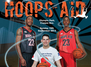 The first Hoops Aid celebrity charity basketball match will take place at the Copper Box Arena this Sunday