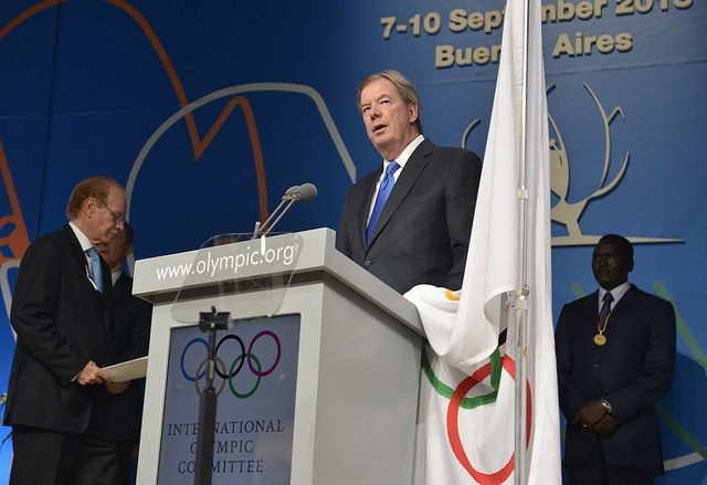 USOC President Larry Probst is sworn in as a member of the International Olympic Committee
