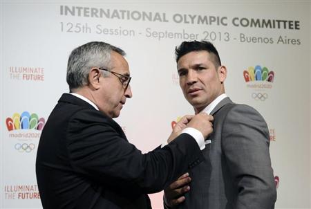 Sergio Martinez (right), pictured with Madrid 2020 bid leader Alejandro Blanco, the Argentinean boxer formed another part of the Spanish capital's campaign
