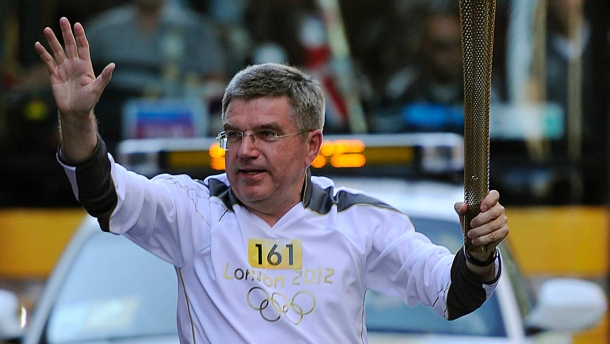 Thomas Bach, who carried the Olympic Torch before London 2012, has arrived in Greece as part of his first official overseas new trip as new International Olympic Committee President