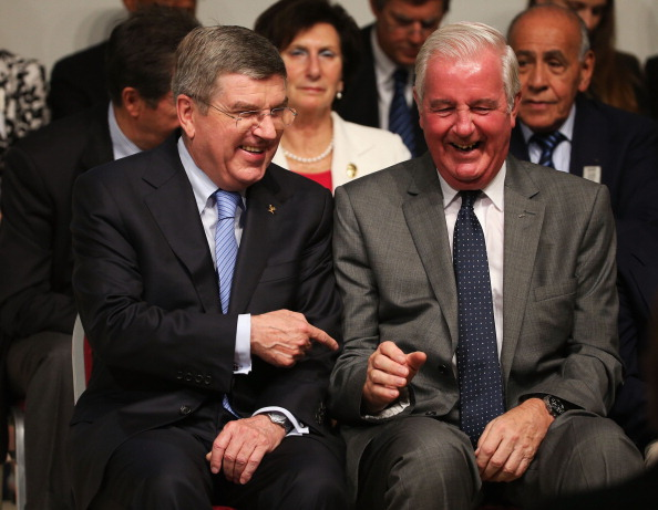 New IOC President Thomas Bach, seen here with Britain's Sir Craig Reedie waiting for the result of the election, was called by world leaders congratulating him on his victory