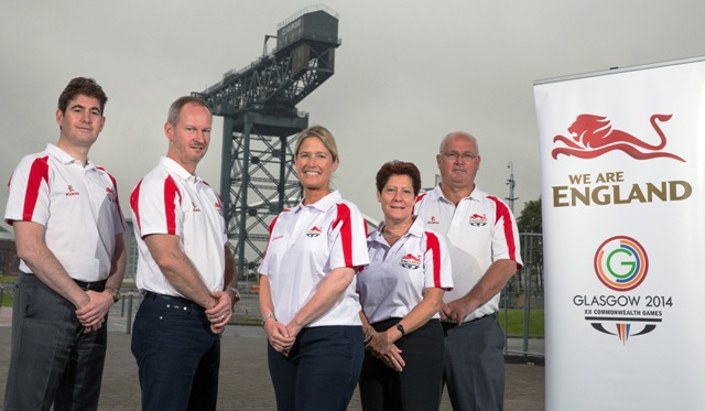 Adam Paker, Graeme Dell, Jan Paterson, Hilda Gibson and Don Parker are all members of the England leadership team for Glasgow 2014