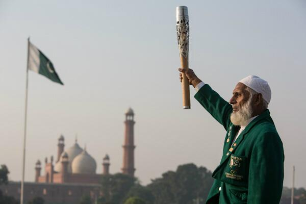 Former weightlifter Abdul Ghafoor, winner of a silver medal at Edinburgh 1970, took part in the Queen's Baton Relay when it visited Lahore today