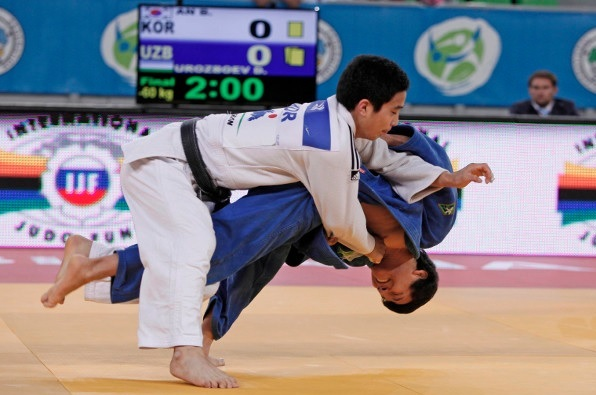An Baul of Japan beat Ukrainian Diyorbek Urozboev to take the final gold medal of the day in Slovenia