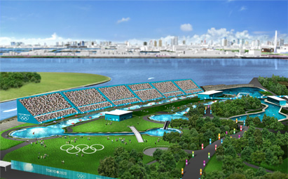 An artists impression of the proposed canoe slalom course in Kasai Rinkai Park for the Tokyo 2020 Olympic Games