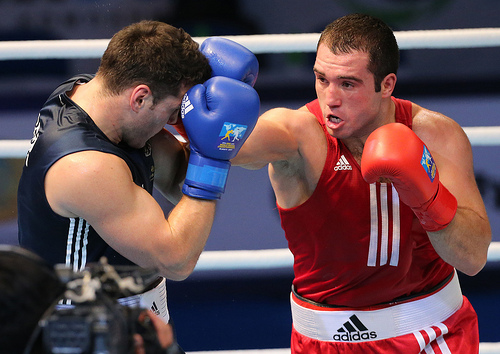 Boxing giants Mihai Nistor red and Erik Pfeifer went head to head on day eight of the World Boxing Championships