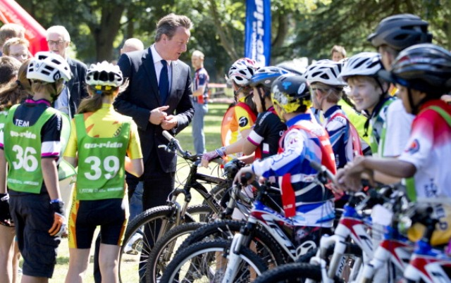 British Prime Minister David Cameron attends one of British Cycling's Go Ride events in Watford earlier this year