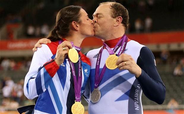 Dame Sarah Storey and her husband, Barney, celebrate their success at London 2012