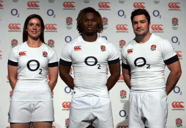 England international Sarah Hunter Marlon Yarde (centre) and Brad Barritt sporting the new England kit