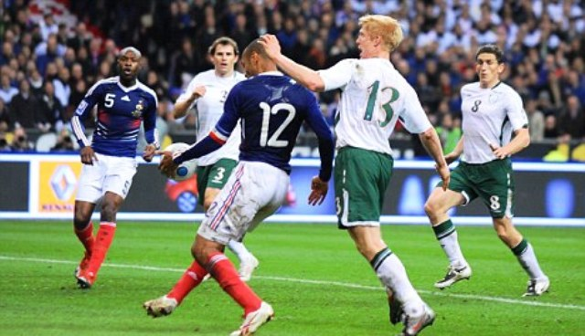 France forward Thierry Henry's controversial handball which lead to the winning goal in the 2010 FIFA World Cup qualifying play-off win over the Republic of Ireland