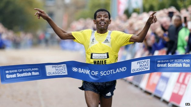 Haile Gabrselassie wins Great Scottish Run in new course record