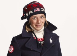 Olympic freestyle skiing moguls champion Hannah Kearney modelling the village wear kit for Team USa for Sochi 2014