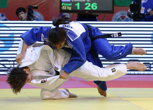 History maker Ilse Heylen (white) on her way to claiming a 44th international judo medal