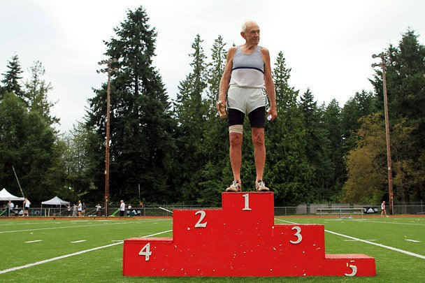 Just seeing a guy in his eighties or nineties standing on top of a podium is impressive enough let alone after running, jumping or throwing!