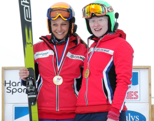 Kelly Gallagher, with guide Charlotte Evans, was the first British athlete to win a medal at the IPC Alpine Skiing World Championships
