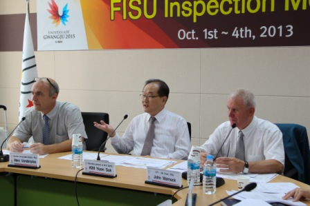 Kim Yoon-Suk Marc Vandenplas and John Warnock making their address at the introductory meeting