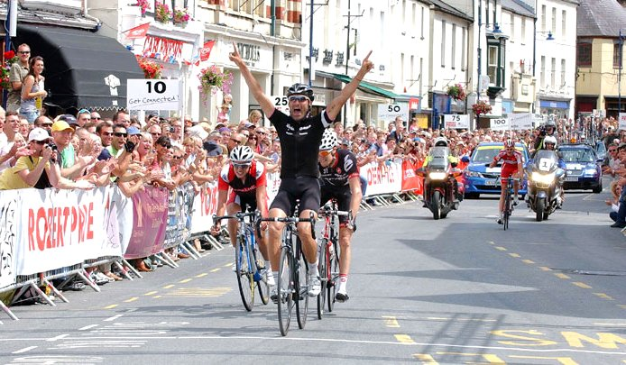 Kristian House winning the mens road race on the last occasion the British Championships were held in Monmouthshire in 2009